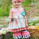 Wholesale children's boutique clothing set gorgeous girls fluffy pettiskirt first birthday outfit