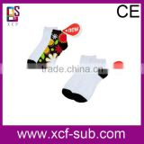 hot organic cotton white polyester socks for sublimation