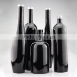 Upscale glass black bottle 0.75 liter frosted glass bottle black electroplate glass bottle