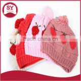 wholesale Winter Hat Ball Bead Hat Lady knitted wool cap hat new winter