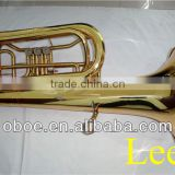 Brass wind instrument gold lacquer 3 valves rotary Bb children tuba--551G