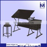 Wholesale black steel engineering desk with table top adjustable and three drawers