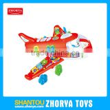 3 colors funny electic bump and go cartoon flying plane toys with light and sound