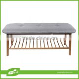 Soft surface bamboo bench bamboo seat with shoes rack