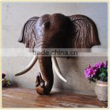 Modern home wall decor hanging polyresin elephant head figure wholesale