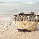 Seagrass beach bag with seashell decoration, cool design for summer holiday