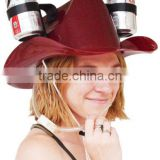 Cowboy Drinking Hat Beer / Soda, Burgundy - Football Games, Parties, Holidays