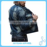 Custom make on trend Denim Jacket with fur inside casual warm Men's blue wash Jeans Jacket made in China