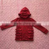 FLF-847 wine red long sleeves baby coat ruffle cardigans fall boutique girls clothing wholesale 2016