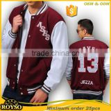 Custom American Winter Fashion High School Uniforms Baseball College Bomber Letterman Varsity Softshell Jacket Men