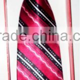 Very Beautiful Red & Black Unique Striped Polyster Neckties