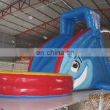 Cheap price inflatable fish water slide with pool for kids WS066