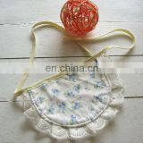 Custom made lovely cute kids cotton baby bib with lace printed knitted fabric baby towel