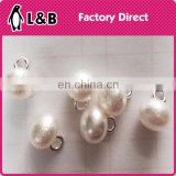 white loose round ABS plastic beads pearl button with metal hook