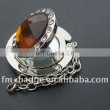 mirror crystal purse hanger with keychain China factory with low price, rhinestone mirror bag hanger with chain