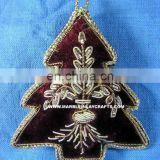 Zari Embroidery Christmas Hanging Ornament Tree Decoration