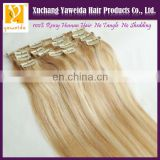 high quality indian clip in hair extensions remy hair color 613#