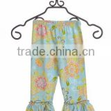 wholesale Ruffle Capri Plus Size Women harm pants Ruffle Capri Pants in blue flower