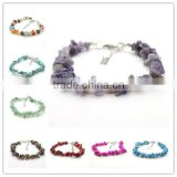 Assorted Chip Gemstone Bracelet with Extended Chain and lobster clasp