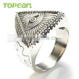 Topearl Jewelry Stainless Steel Men's All-see Eye Ring For Men Fashion Cross Eye Open Ring Vintage Punk Style Ring MER439