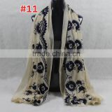 New Style Cotton Viscose Beautiful Flower Design Embroidery Shawl Scarf                                                                         Quality Choice