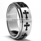 Spinner cross ring stainless steel jewelry