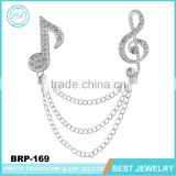 Jinhuan Fashionable Jewelry Music Note Silver Brooch With Chain