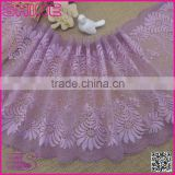 "Fashion Scarf Lace,New Design Wide Purple 8.85"" Super Strech Soft Spandex Nylon Warp Knitted french lace fabric"