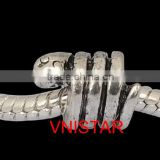 Vnistar high quality antique silver plated animal snake shaped metal large hole beads wholesale PBD2087