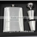 8oz hip flask set with funnel,cups wine barrels stainless steel