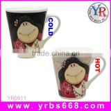 V shape hot water sublimation little girl photo magic mugs,personalized logo white color changing mug