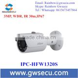 DAHUA H.264 IPC-HFW1320S 3mp 30m mini Smart IR IP POE Camera P2P Cloud Camera with 3D Noise Reduction