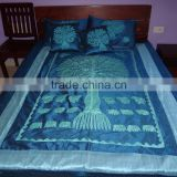 Blue Silk Sari Tree Of Life Bed-cover