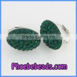 Wholesale Oval Shape Emerald Big Clip On Earrings With Crystals PEA10