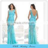 2015 Latest vestido de festa Longo Blue Evening Dress Sheer Skirt Sexy Lace Applique Party Dresses Evening Gowns Plus Size