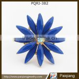 Newest design fashion blue diamond resin flower adjustable ring