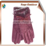 High-end Italian long red winter lambskin plain style lined young ladies rabbit fur lined leather gloves