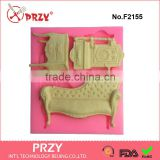 F2155 Baroque Furniture Silicone Fondant Mould,silicone cake decorating mold,food grade fondant molds                                                                         Quality Choice