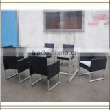 Black Poly rattan Dining outdoor metal furniture (T791)