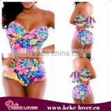 YH7088 Best selling high waist beachwear swimsuit printed bandage bikini set 2015 new plus size women sexy summer swimwear