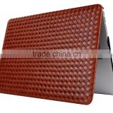 Deluxe woven texture pu leather case for macbook, for macbook back cover laptop protective case