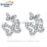 Attractive cz double butterfly cheap fancy sterling silver earring studs