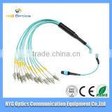 Manufacturer 3,5,10,15,20m MPO-LC OM3 aqua path push on fiber optical path cord/jumpers used in Parallel Optical Links