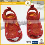 2015 Cheap direct selling red lovely crochet kids baby sandal
