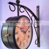 Black metal Double Station Wall Clock, Antique style clock hanging