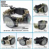 Outdoor 550 paracord watch bracelet 5 in 1 with compass ,thermometer , firestick and blade