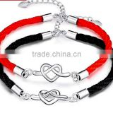 quality circle charms red and black cord bracelets with clasp fashion handmade cord love bracelets for boys and girls gift
