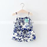 Children clothes eco-friendly boutique white porcelain printed sleeveless straps rompers cute baby girl