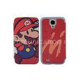 Frosted Shell Samsung Leather Phone Cases With Magnet Button , Mario phone Cover