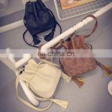 New Lady Faux Leather Tassel Drawstring Hobo Bag Messenger Shoulder Bag Tote